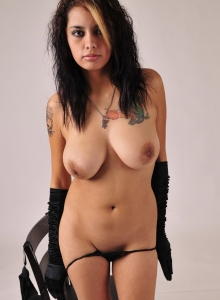 Big Titty Gnd Nicole Strips Down To Just Her Black Gloves And Plays With Her Natural Big Boobs - Picture 4