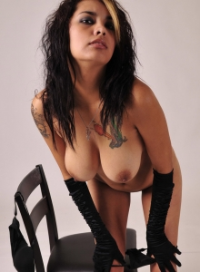 Big Titty Gnd Nicole Strips Down To Just Her Black Gloves And Plays With Her Natural Big Boobs - Picture 5