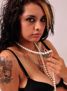 Nicole Shows Off Her Big Tits In A Tight Black Bra And A Pearl Necklace - Picture 9